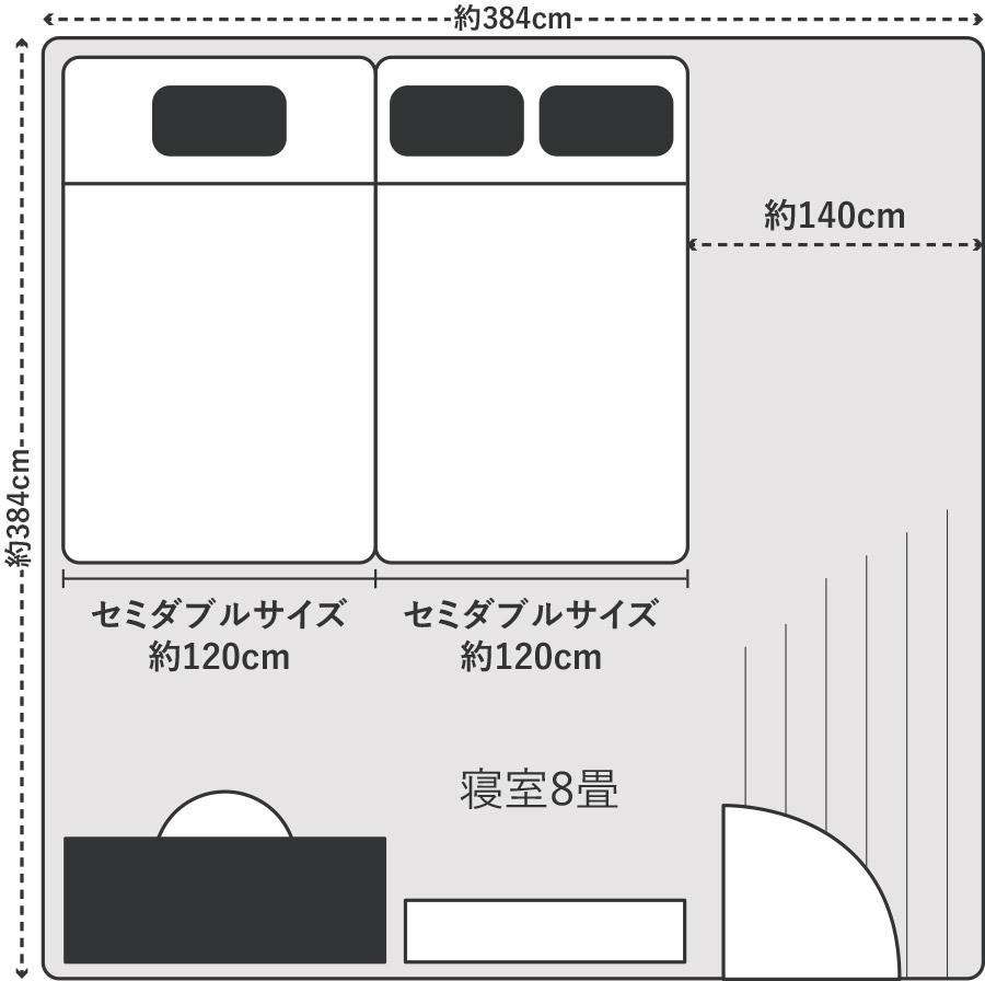 ベッドの横幅を240cmにしたい場合はセミダブルを2つ組み合わせます