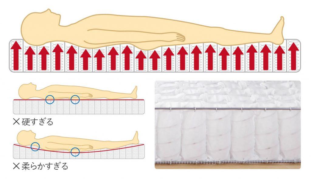 ポケットコイルのマットレスは、寝心地が柔らかめで、からだにフィットする。