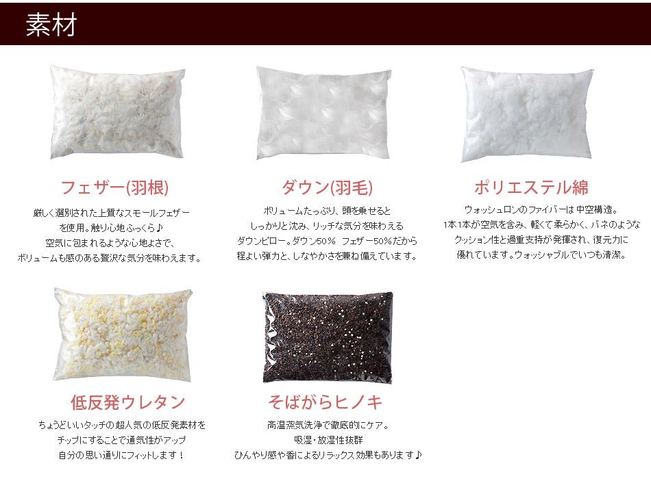 ベーシック枕 素材×サイズ 選べるフィット感